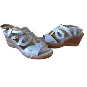 Born Womens Wynda Cork Wedge Sandals Size 8